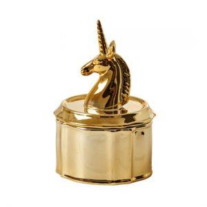 Unicorn Porcelain Jewelry Box Gold Image