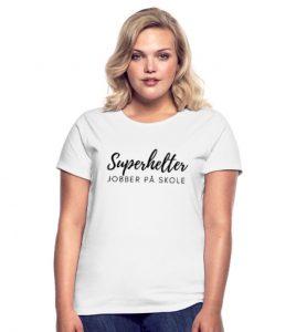 T- skjorte kvinne - Superhelter jobber på skole Image
