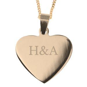 Smykke - Hjerte - Gullanheng med navn eller initialer Image